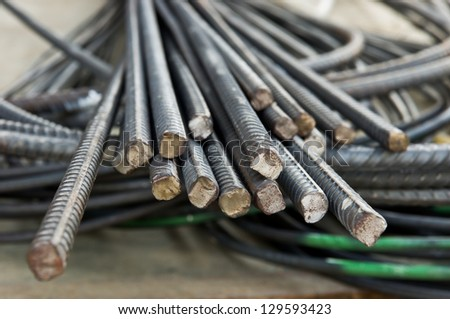 Steel rods or bars used to reinforcement concrete - stock photo