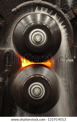 steel Roll forming machine - stock photo