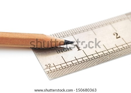 steel ruler and wood pencil on paper graph - stock photo