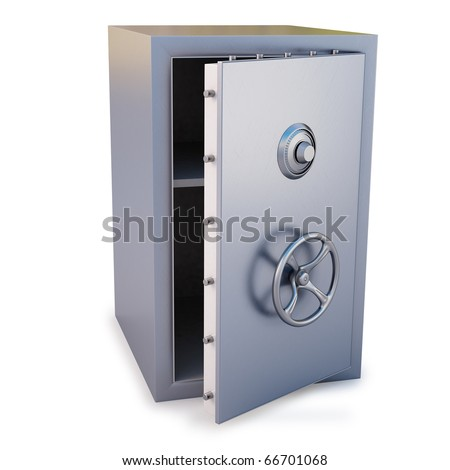 steel safe with the door open. isolated on white. - stock photo