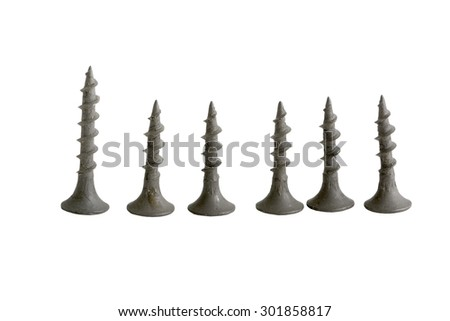 Steel screw for fixture on a white background - stock photo
