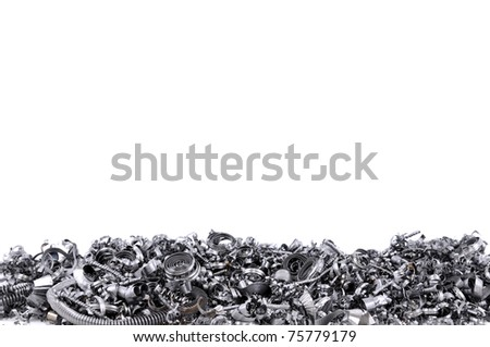 Steel shavings from CNC. - stock photo