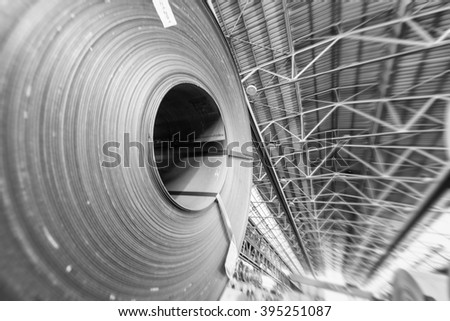 Steel sheets in a warehouse. - stock photo