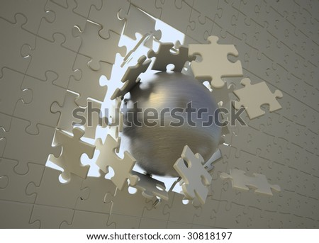 Steel sphere breaking through a puzzle - stock photo