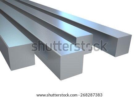 steel square roads  isolated on white background - stock photo
