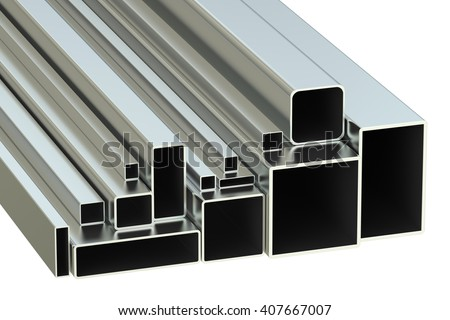 steel square tubes concept, rolled metal. 3D rendering - stock photo