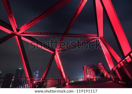 Steel structure bridge close-up night scene - stock photo
