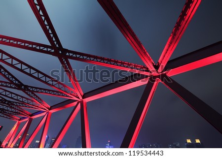 Steel structure bridge close-up night scene - stock photo