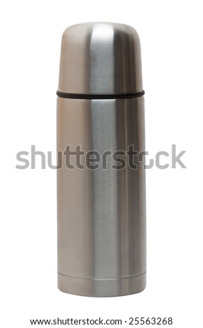 Steel thermos isolated on the white background - stock photo