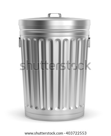 Steel trash can with lid isolated on white background. 3D illustration - stock photo