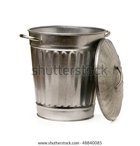 Steel trash garbage can - stock photo