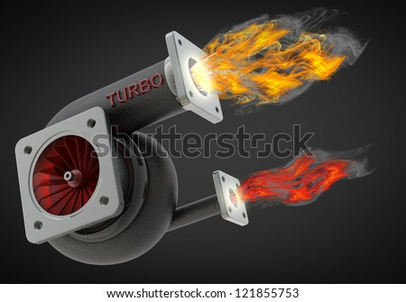 steel turbocharger isolated on black background. High resolution 3d render - stock photo
