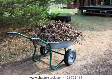 Steel wheelbarrow standing on pathway full of dry leaves - stock photo