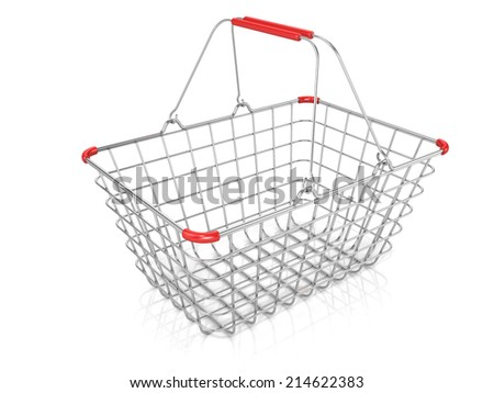 Steel wire shopping basket isolated on a white background. - stock photo