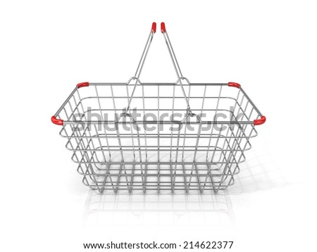 Steel wire shopping basket isolated on a white background. Front view - stock photo