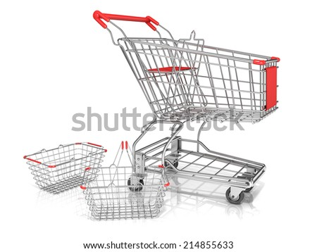 Steel wire shopping baskets and shopping cart isolated on a white background. - stock photo