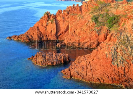 Steep cliffs above the sea at Pointe de l'Esquillon, Estrel massif, French Riviera, France - stock photo