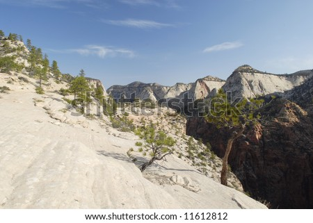 Steep cliffs of Zion Canyon in Southern Utah - stock photo
