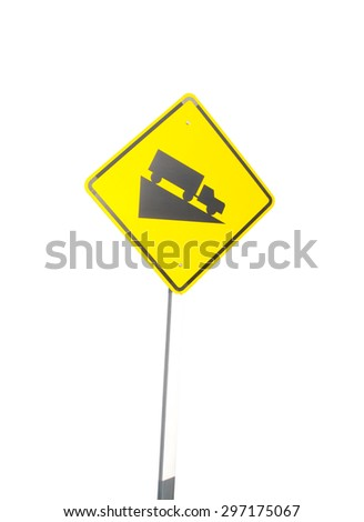 Steep grade sign isolated on a white background - stock photo