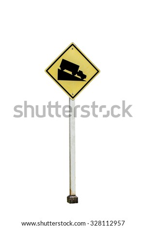Steep Grade sign isolated on  white background , with clipping path - stock photo