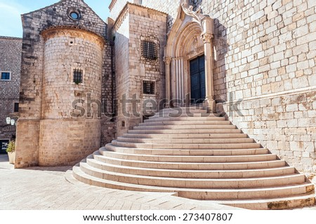 Steep stairs inside the old town of Dubrovnik. Architectural detail. - stock photo