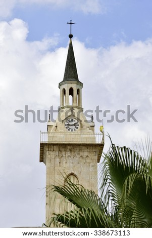 Steeple of St. John the Baptist church, Ein Kerem, Israel. - stock photo