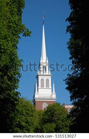 Steeple of the Old North Church in James Rego Square, Hanover Street, Boston, MA - stock photo