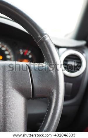 steering wheel in car - stock photo