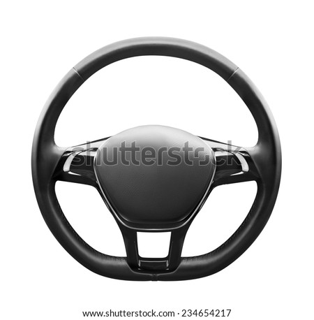 Steering wheel, isolated on the white background, clipping path included. - stock photo