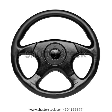 Steering wheel, isolated on the white background, clipping path included - stock photo