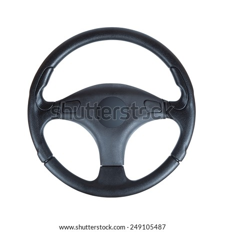Steering wheel of a car isolated on white background - stock photo