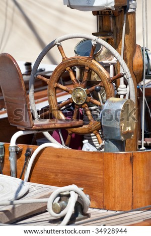 steering wheel of a sailing-boat - stock photo
