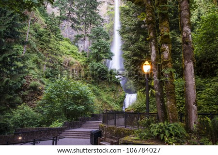 Steetlights at waterfalls viewing area, Multnomah Falls - stock photo