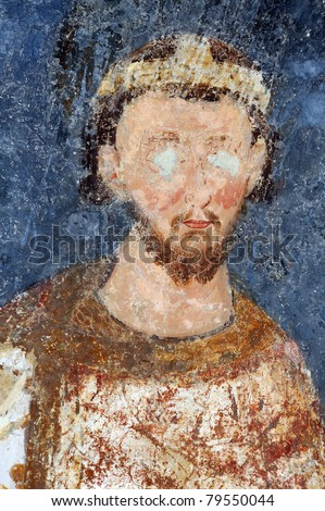 Stefan Radoslav, Serbian king from 1228 to 1234, fresco painting from monastery Mileseva, Serbia - stock photo