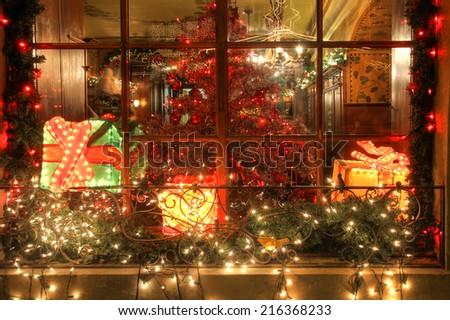 STEIN AM RHEIN, SWITZERLAND, DECEMBER 28, beautifully decorated restaurant window during Christmas season in Stein am Rhine, Switzerland, December, 28.2013 - stock photo