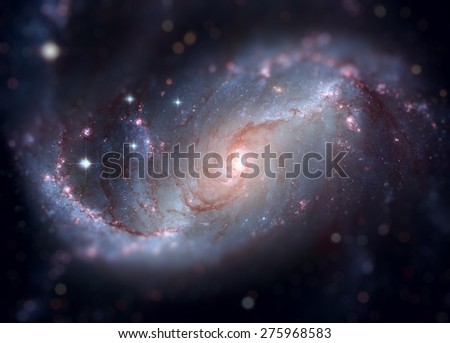 Stellar Nursery in the arms of NGC 1672. NGC 1672 is a barred spiral galaxy located in the constellation Dorado. Retouched image with small DOF. Elements of this image furnished by NASA. - stock photo