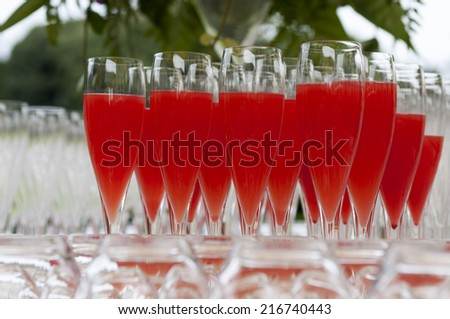 stemware for non-alcoholic aperitif on tray - stock photo