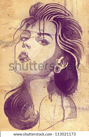 Stencil Graffiti Of Young Woman On Textured Background - stock photo
