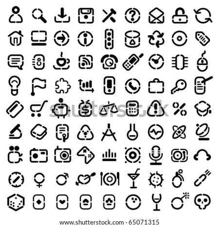 Stencil icons for web, computer, business, shopping, science, media, leisure, gambling and danger. Raster version. For vector version of this image, see my portfolio. - stock photo
