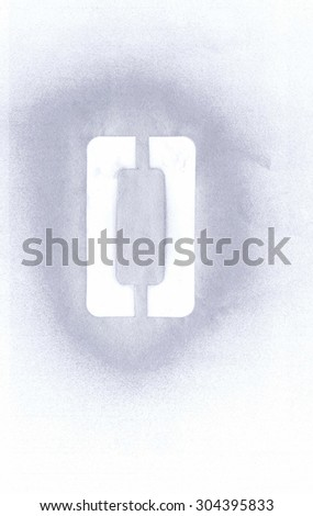 Stencil letter O sprayed with silver spray paint on white paper - stock photo