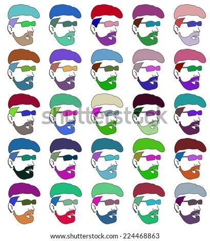 Stencils faces of men of different colors. Raster. Raster. - stock photo