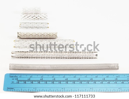 stents of various sizes for endovascular surgery - stock photo