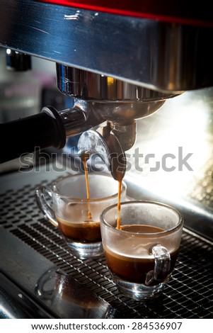 Step by making coffee from coffee bean, Shot of espresso coffee  - stock photo