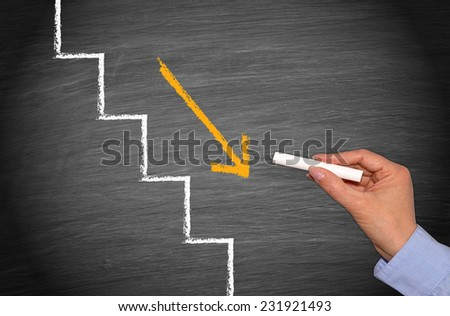 Step by step downwards - Business concept chalkboard - stock photo