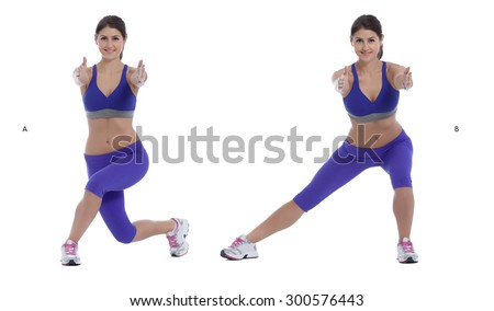Step by step instruction: Curtsy Squat/Lateral Lift - stock photo