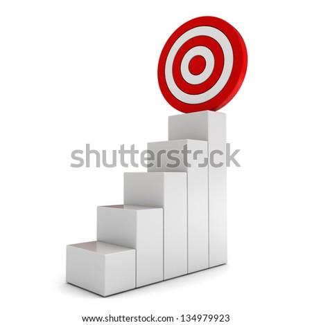 Step graph with goal target business concept over white background - stock photo