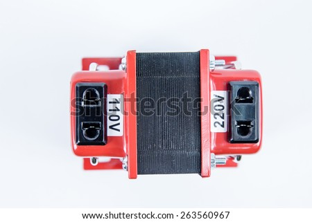 Step up, step down voltage converter, 110V to 220V, with copy space - stock photo