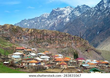 Stepantsminda (formerly Kazbegi), is a small town in the Mtskheta-Mtianeti region, Georgia - stock photo