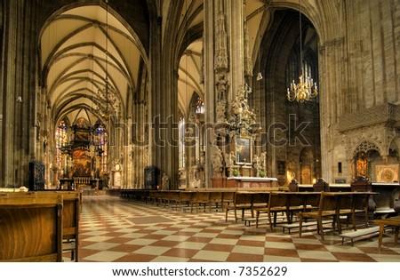 stephans cathedral  interior in vienna, austria - stock photo