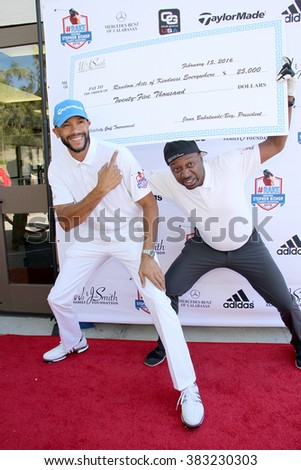 Stephen Bishop and Ricky Smith with a donation (Will and Jada Smith Foundation) at the inaugural Stephen Bishop celebrity golf invitational, Feb. 15, 2016 at Calabasas Country Club in Calabasas, CA. - stock photo